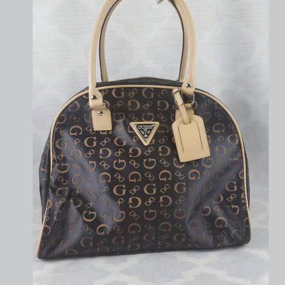 Guess Bags   Large Brown Tote Logo Fabric Bowling Bag   Poshmark da70c6a1e6